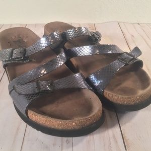 Mephisto cork snakeskin metallic buckle sandal 40